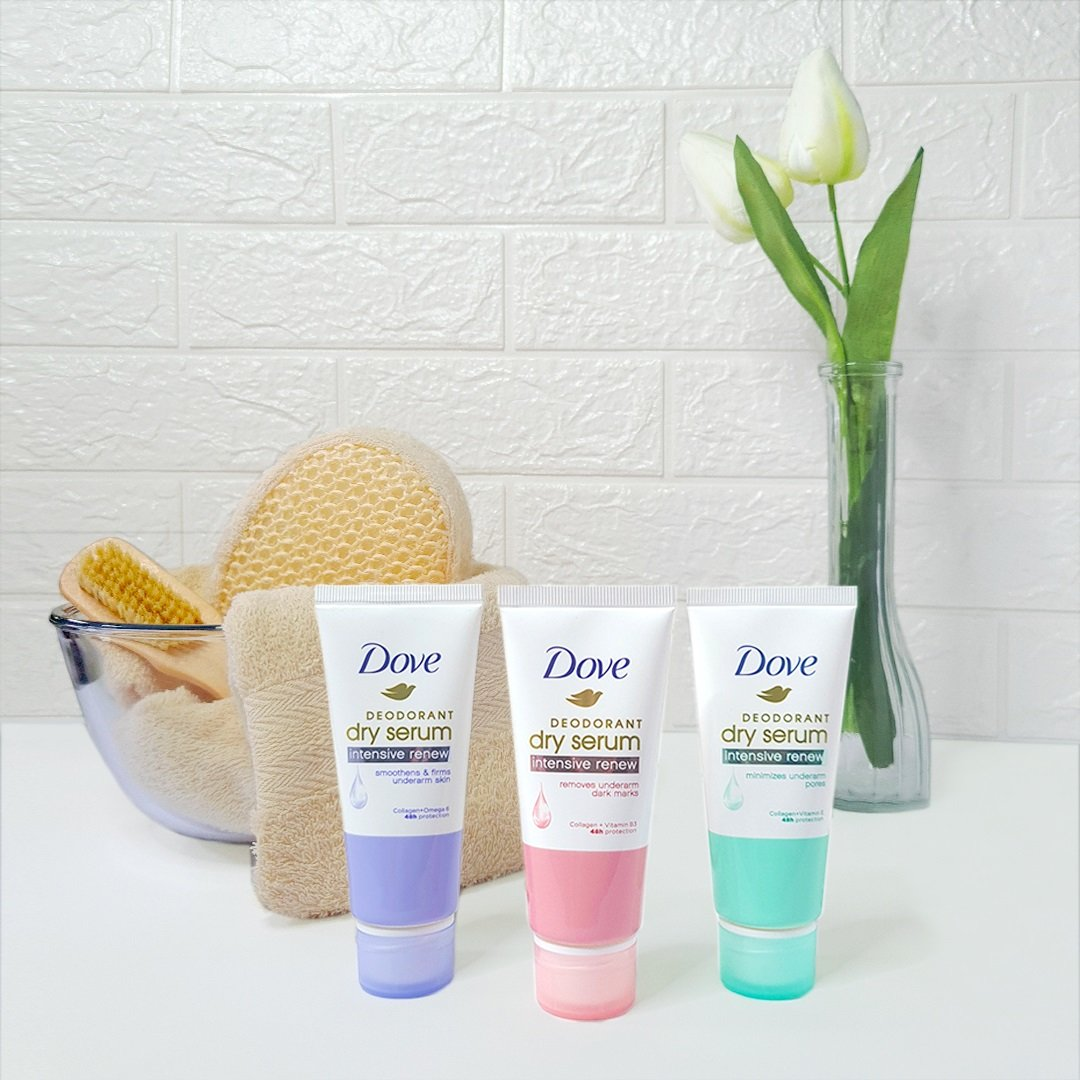 All three variants of the Dove Deodorant Dry Serum