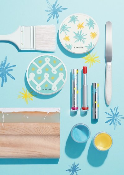 Laneige Sparkle My Way Limited Edition Collection laid down on sky blue background.