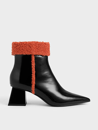 Charles & Keith Shearling Trim Patent Ankle Boots