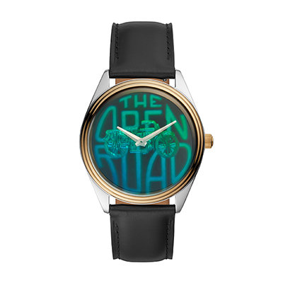 A gold-plated watch with hologram dials