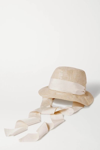 Gigi Burris Space for Giants Trail Grosgrain-trimmed Metallic Linen Sunhat,