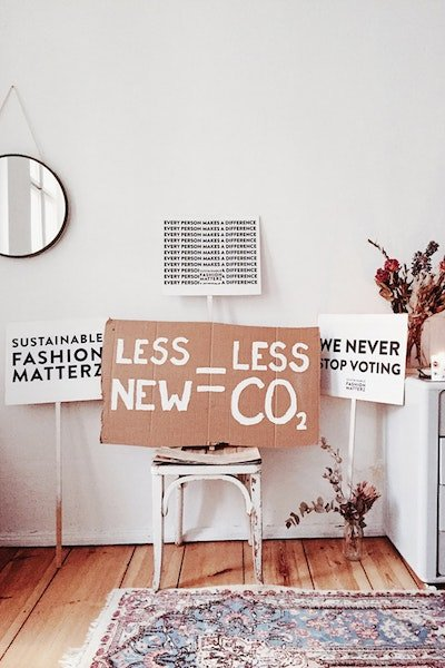 Sustainable Fashion Signs In A Room