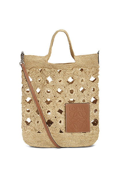 An oversized knitted bag