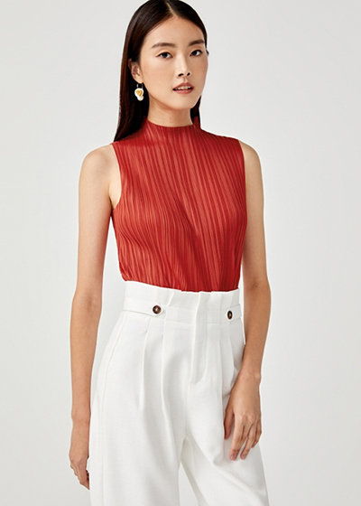 Love, Bonito x Camille Co Collection Cassie High Neck Pleated Top