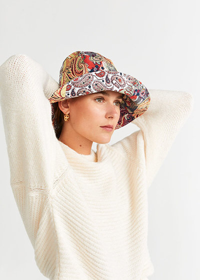A bucket hat with a patchwork design