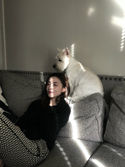 Relaxing on a couch with a dog
