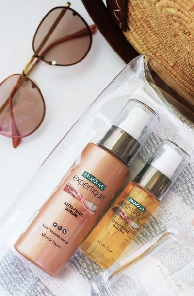 Palmolive Expertique Beautifying Hair Oil and Frizz Serum for lovely-looking locks.