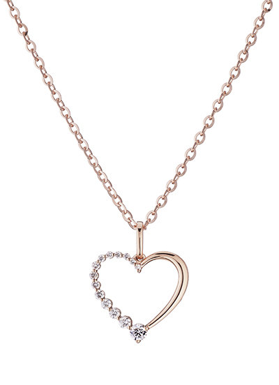 A necklace with heart shaped pendant