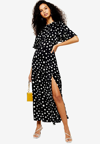 Topshop Austin Polka Dot Print Angel Sleeve Dress