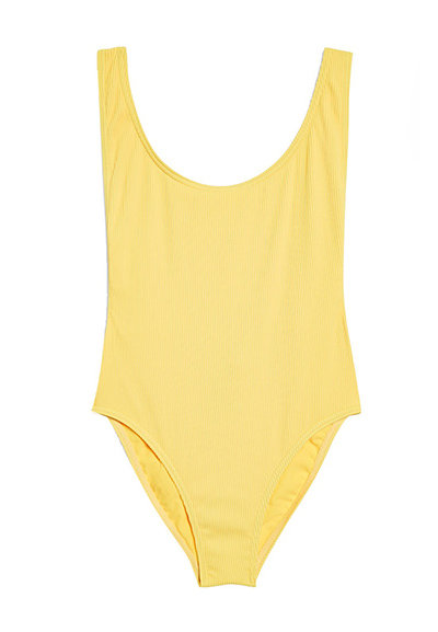 A ribbed pale yellow one-piece swimsuit