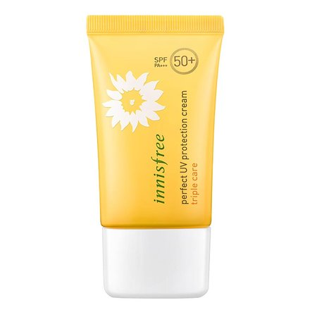A yellow tube of sunscreen