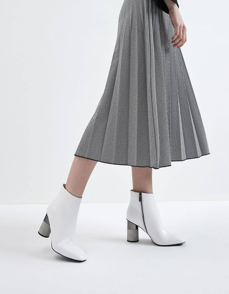 Charles & Keith White Concrete Heel Ankle Boots