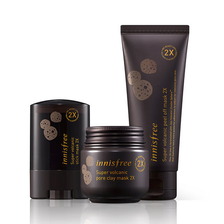 A photo of Innisfree Super Volcanic 2X clay mask, stick mask, and peel-off mask