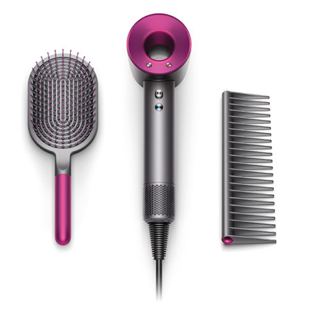 A paddle brush, a blade-less hair dryer, and a black detangling comb