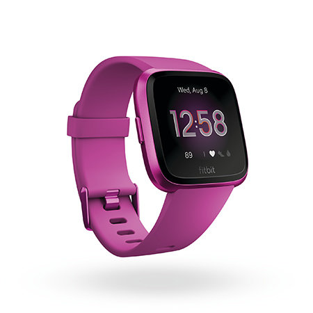 The Fitbit Versa Lite Edition in mulberry color.