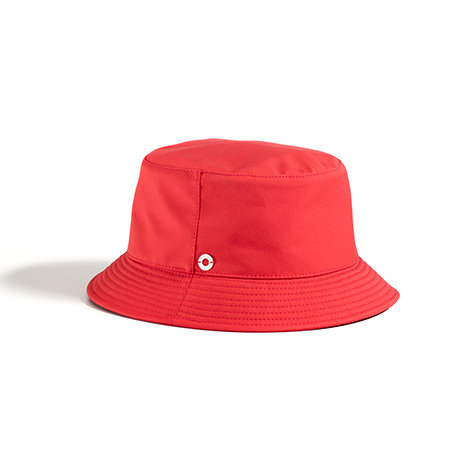 A red bucket hat