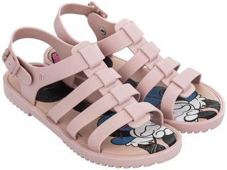 A pair of light pink rubber gladiator sandals with Minnie mouse printed on its insole.