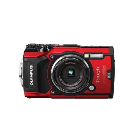 A red waterproof heavy-duty camera