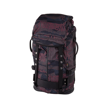 A huge dark graffiti-print backpack