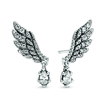 Pandora Celestial Collection Dangling Angel Wing Stud Earrings