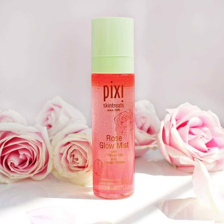 The Pixi Rose Glow Mist is great for hydrating and brightening the skin.