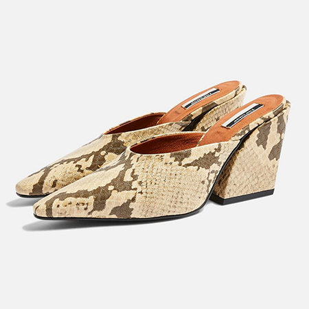A pair of pointy-toed faux snakeskin block-heeled mules.