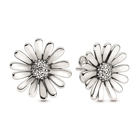 A product photo of the Pandora Pavé Daisy Flower Statement Stud Earrings