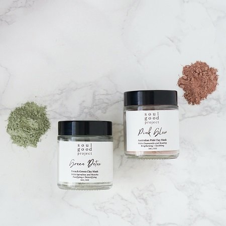 A styled photo of the Soul Good Project Clay Masks