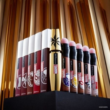 All the products in the Marvel x Maybelline Collection