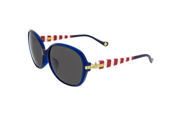 A blue framed sunglasses with red and white stripes