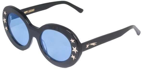 Blue-tinted sunglasses with thick black frame decorated with stars