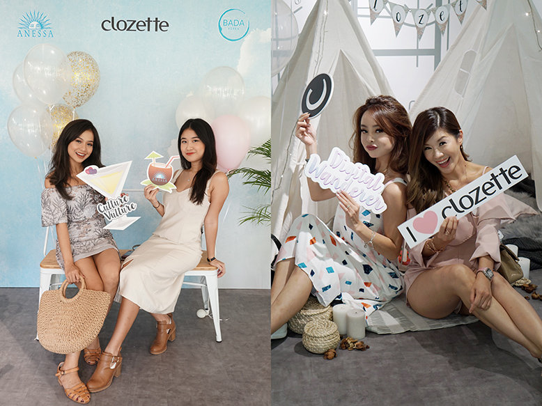 Clozetters pose for the camera at the tea party's photo areas