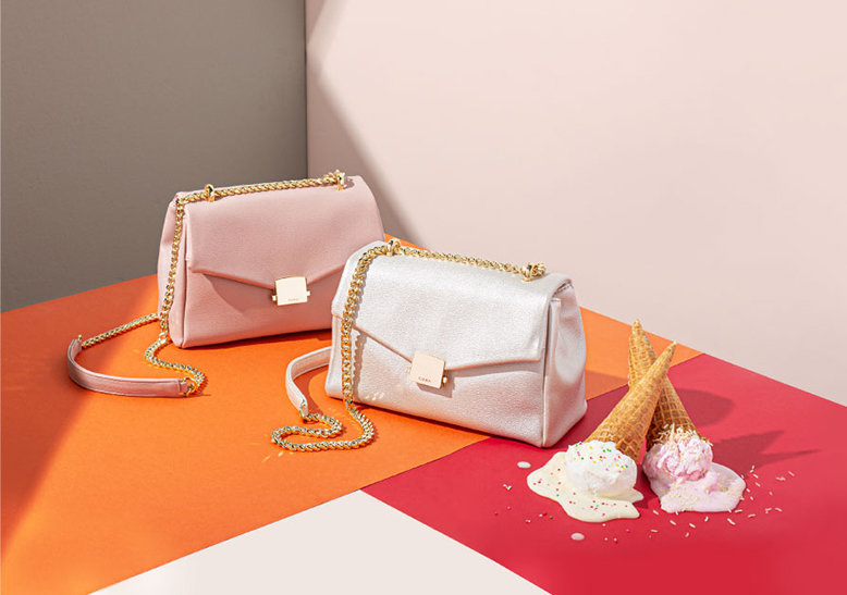Basta 2 Mini bags in soft blush and metallic silver