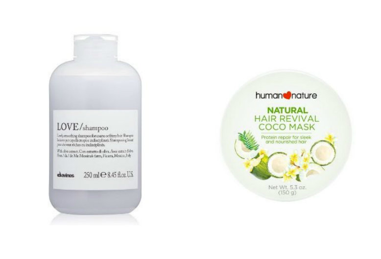 Davines Love Smoothing Shampoo and Human Nature Hair Revival Coco Mask