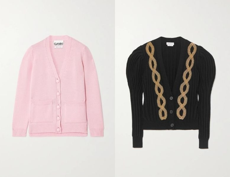 A collage of the Ganni and Alexander McQueen cardigans