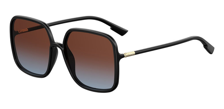 An oversized sunglasses with a black rounded square all-acetate frame, and a pair of gradient-effect lenses.