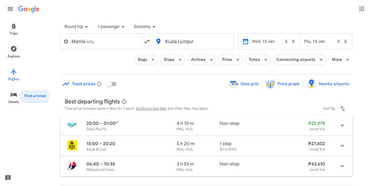 Google Travel Flight Prices