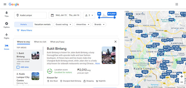 "Google Travel ""Where to stay"" tab"