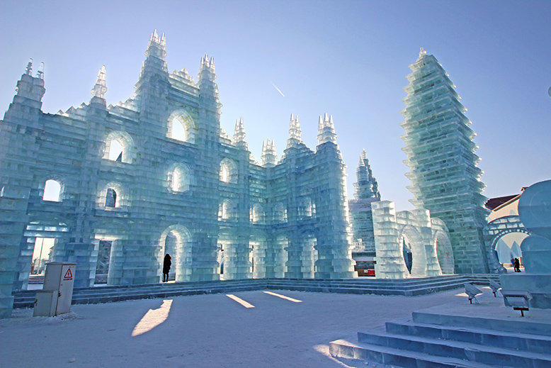 A giant ice sculpture in Harbin International Ice Festival