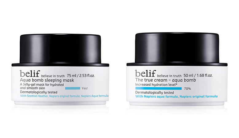 A collage of photos of the belif True cream aqua bomb and belif Aqua bomb sleeping mask.