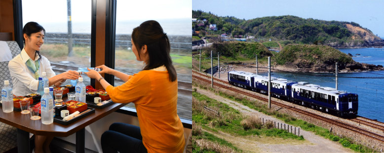 Ladies drinking Niigata sake in a sightseeing train