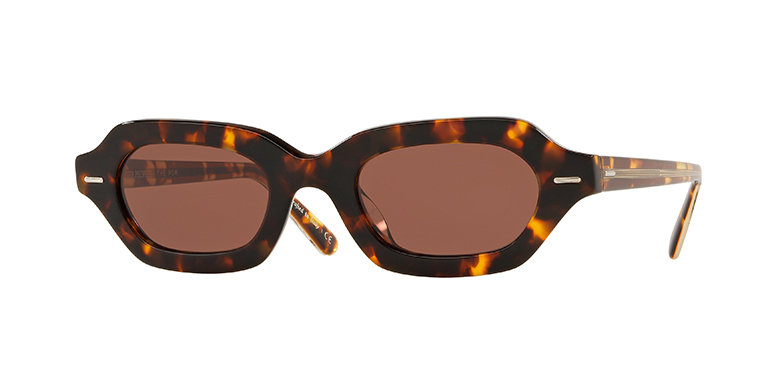 A pair of tortoiseshell-framed sunglasses with a bold and retro look