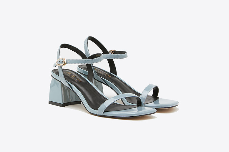 PAZZION Light Blue Open Toe Block Heels