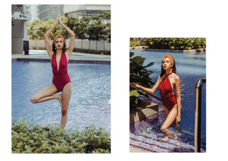 Two side by side photos of the same woman by a pool wearing a read infinity swimsuit styled 2 different ways.