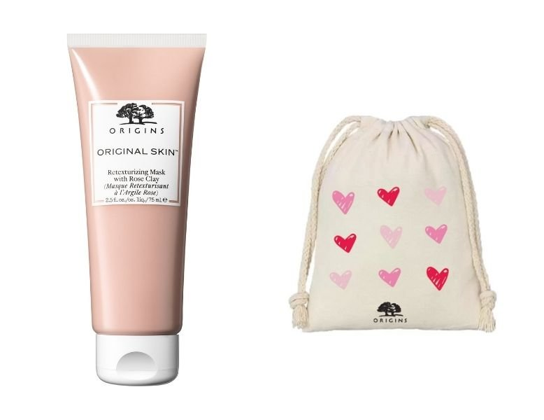 A collage of the Origins ORIGINAL SKIN™ Retexturizing Mask with Rose Clay and limited-edition pouch