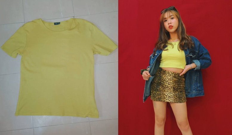 Thrift flipped yellow shirt into crop top