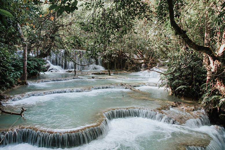 Tad Sae Waterfalls in Luang Prabang, Laos