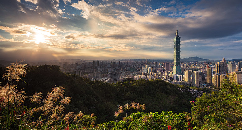 A view of Taipei 101 from the mountains