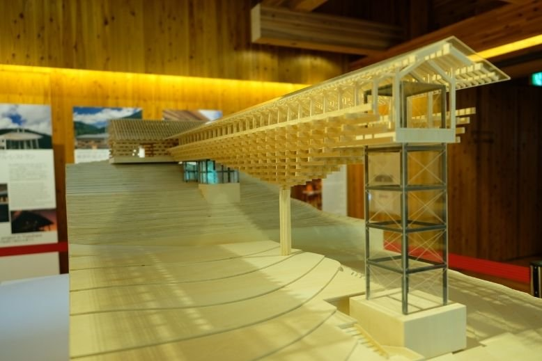 Wooden Bridge Gallery model displayed at Kengo Kuma Museum