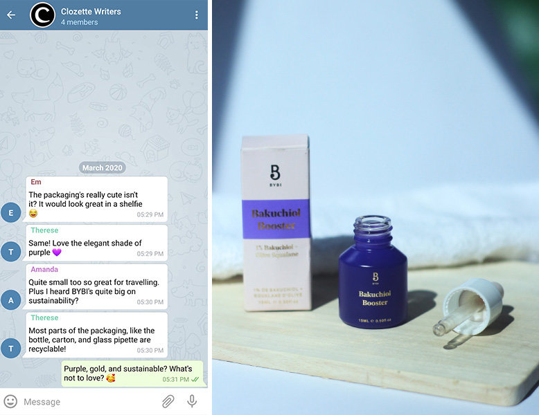 A collaged photo of a group chat next to a photo of a purple skincare bottle, pipette, and box.